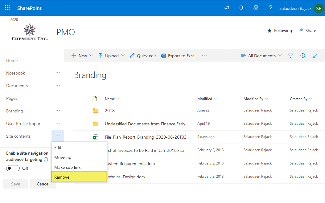 remove site contents from sharepoint online