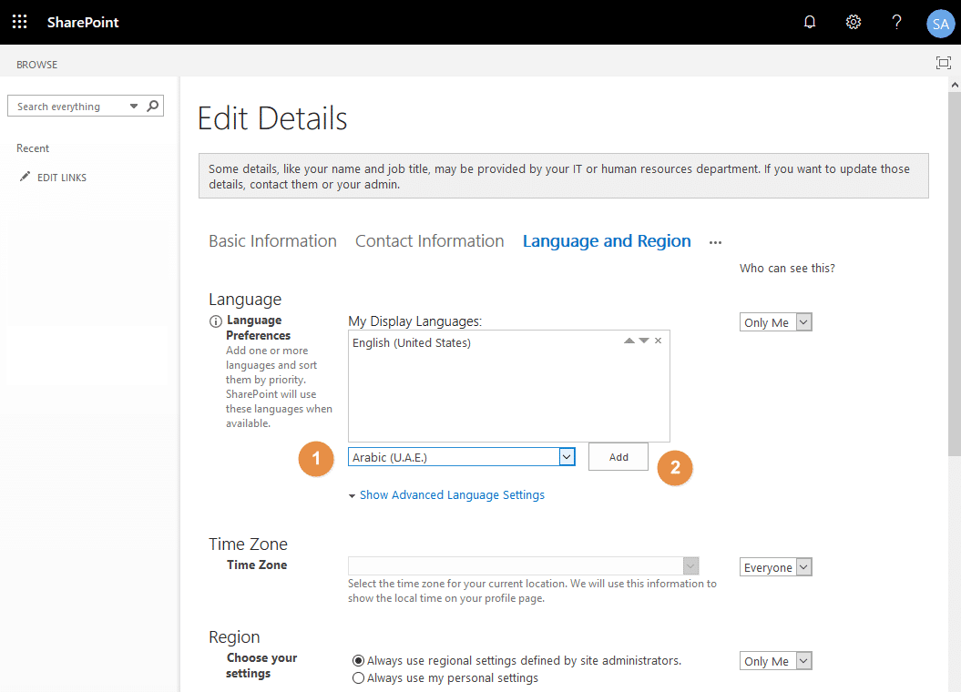 sharepoint online change personal language
