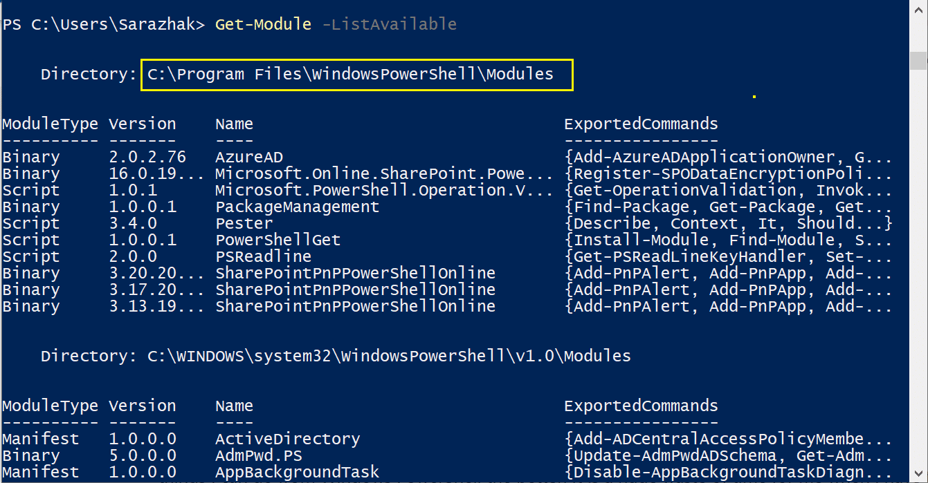 get installed modules in powershell