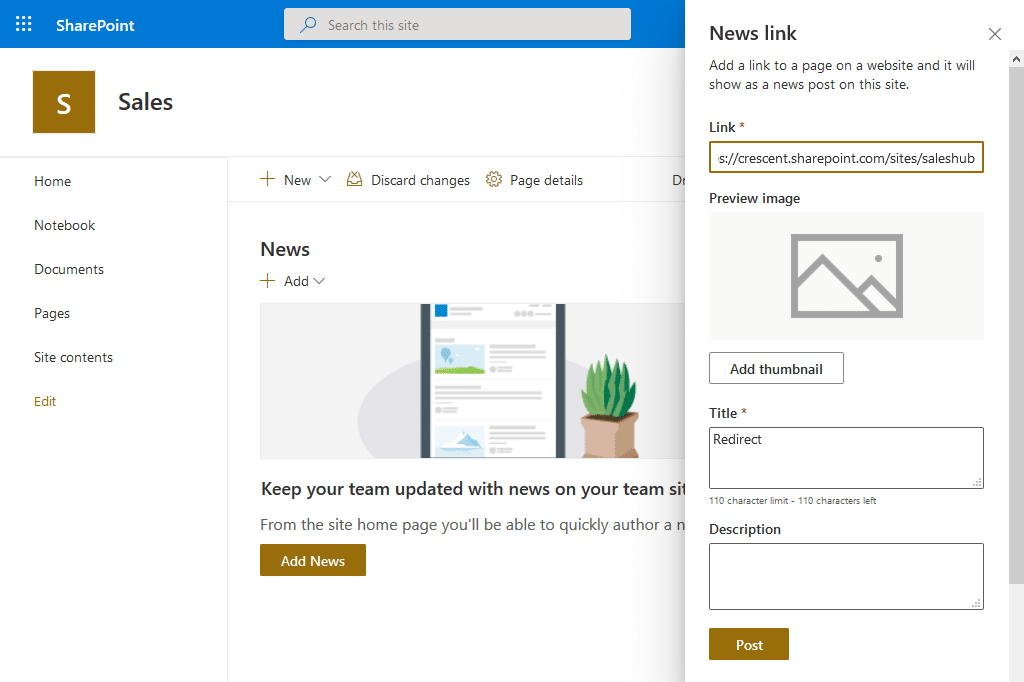 sharepoint online redirect to another site