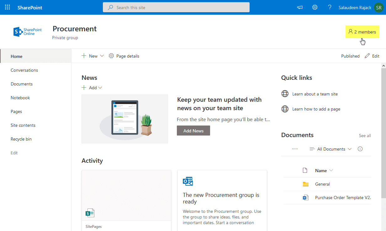 add member to office 365 group site