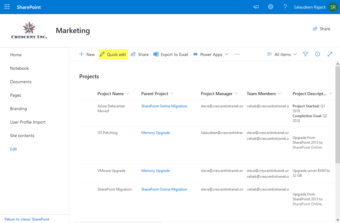 how to disable quick edit in sharepoint online