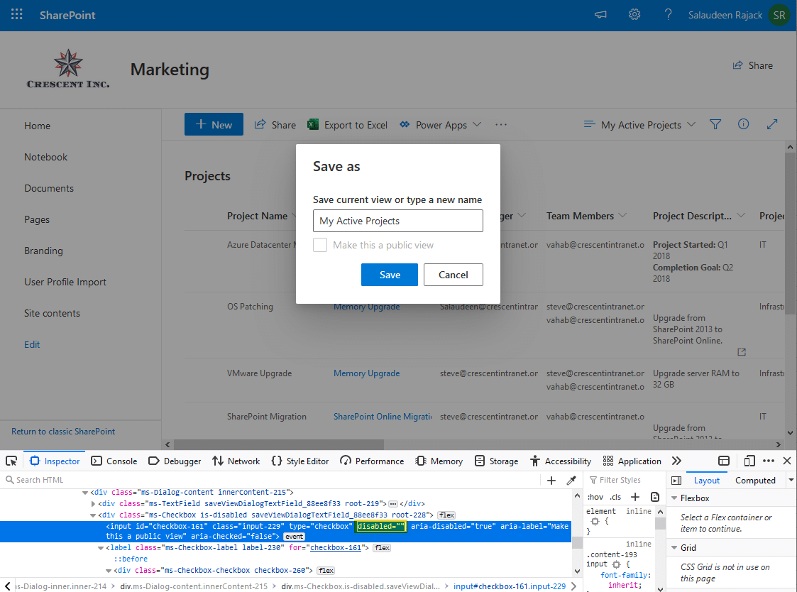 sharepoint create public view from personal view