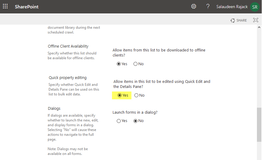 sharepoint online quick edit missing