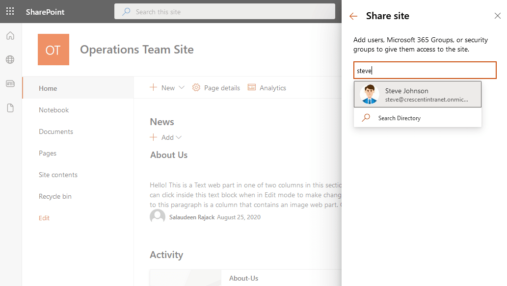 grant access to user in sharepoint onine