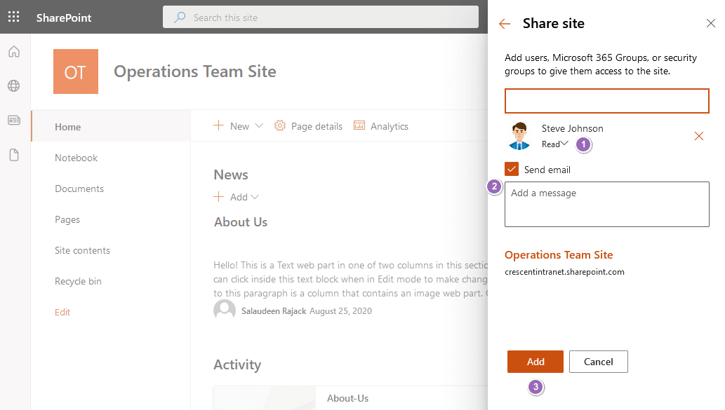 Grant Site Permissions in sharepoint online