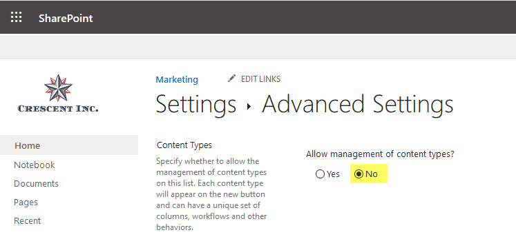 disable content type in sharepoint online list