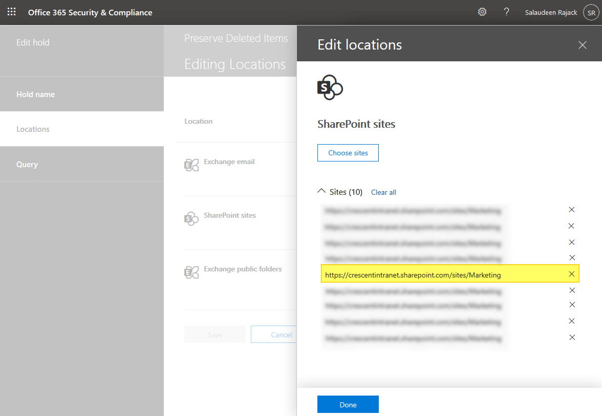 exclude sharepoint online site from hold