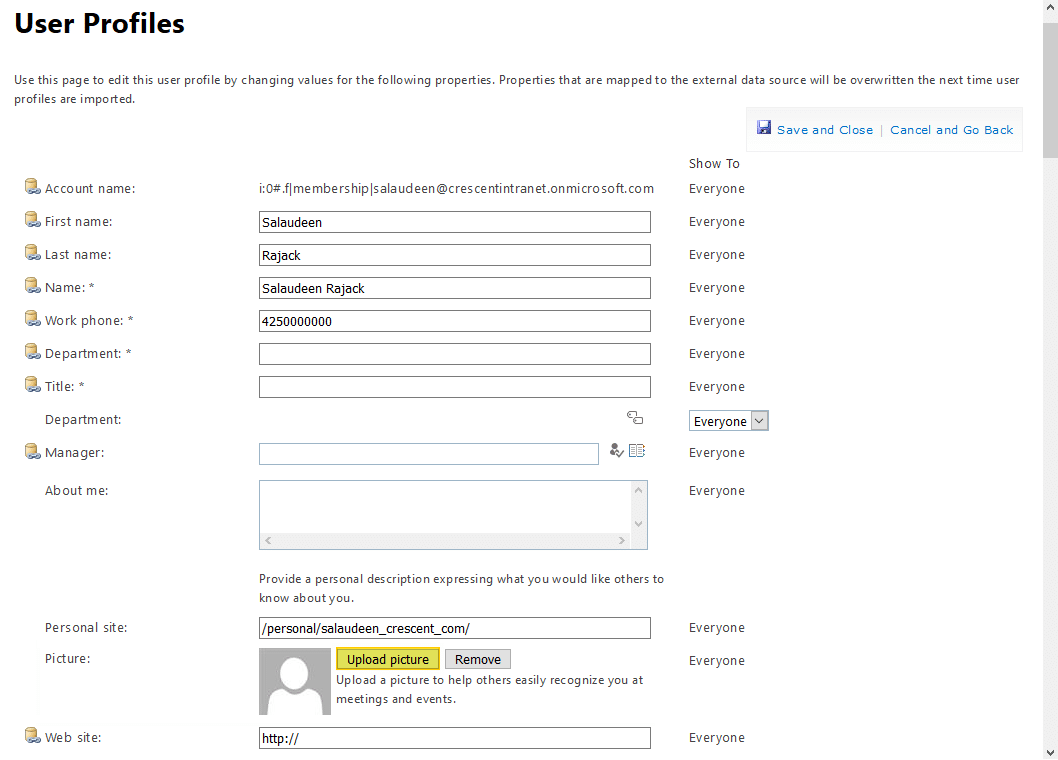 sharepoint online change user profile picture