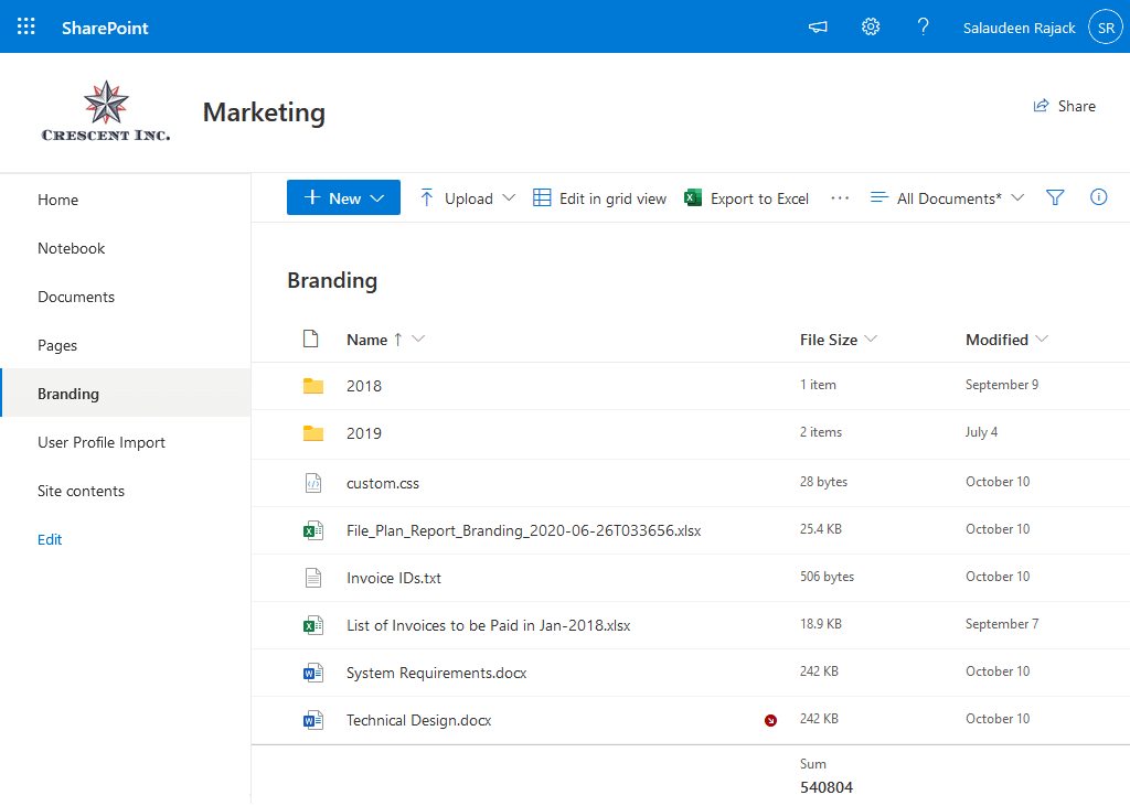 sharepoint online get file size