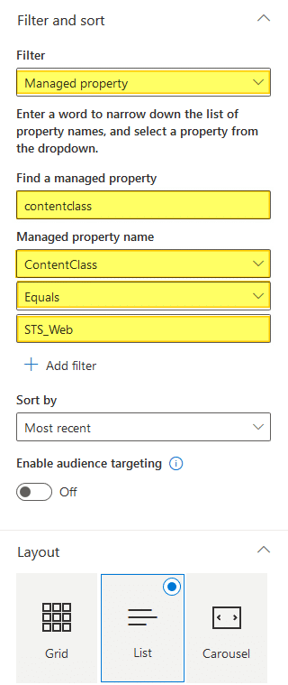 sharepoint online show list of subsites