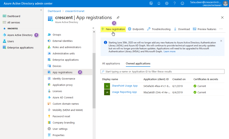 add new app registration in azure ad