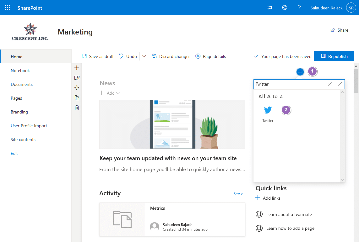 add twitter feed to sharepoint online
