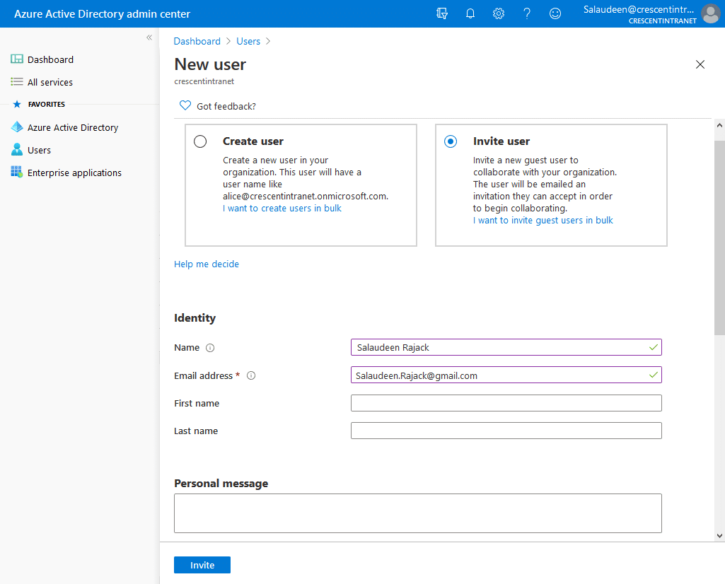 Invite guest user to SharePoint Online Azure Active Directory