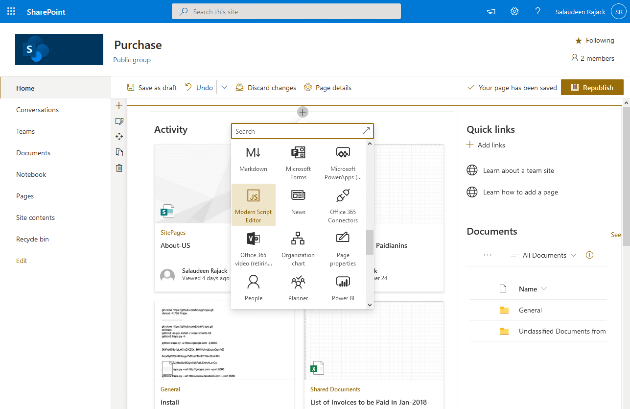 sharepoint online add css to modern page