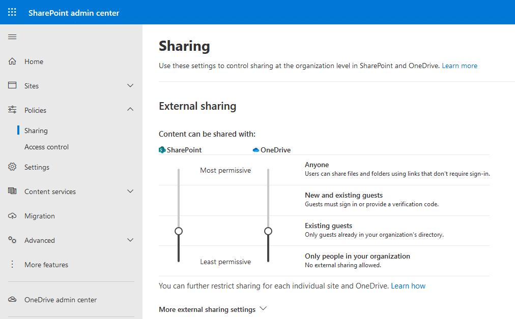 sharepoint online external user sharing settings