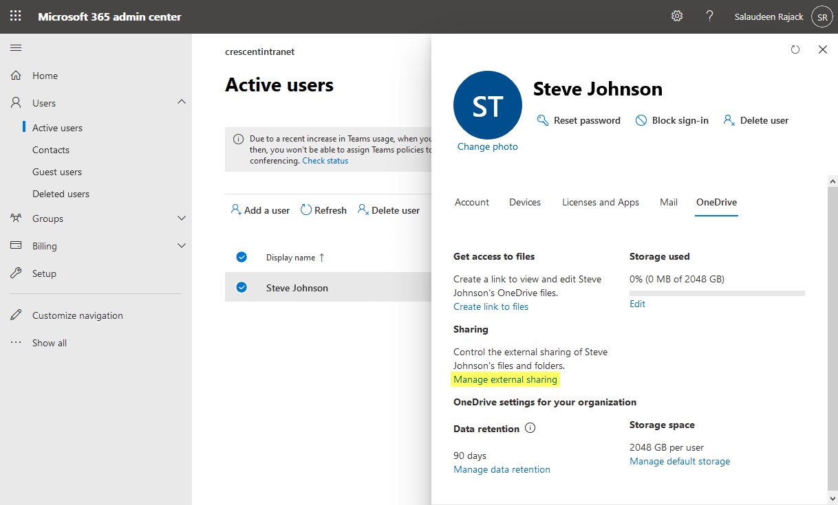 enable external sharing onedrive for business