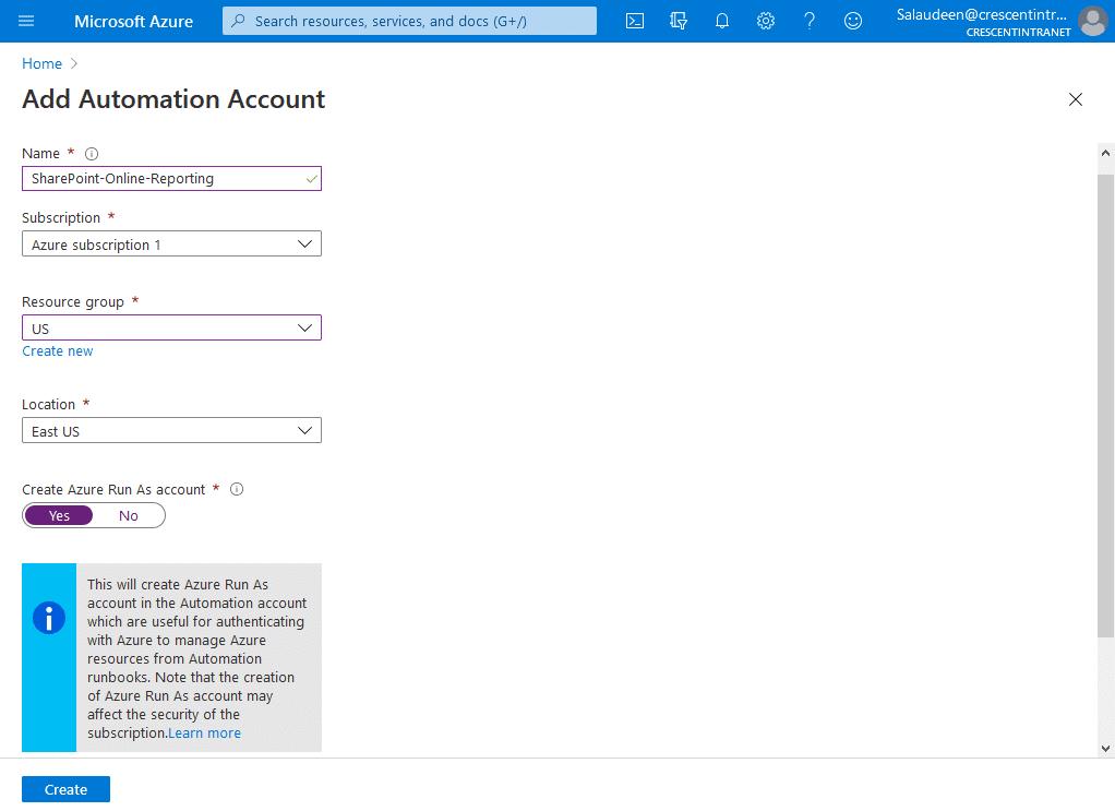 add automation account