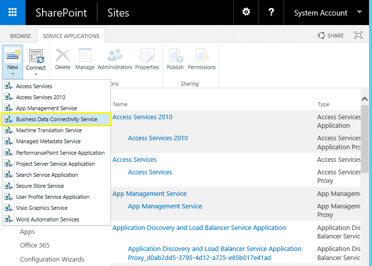 create new business data connectivity service application sharepoint 2013