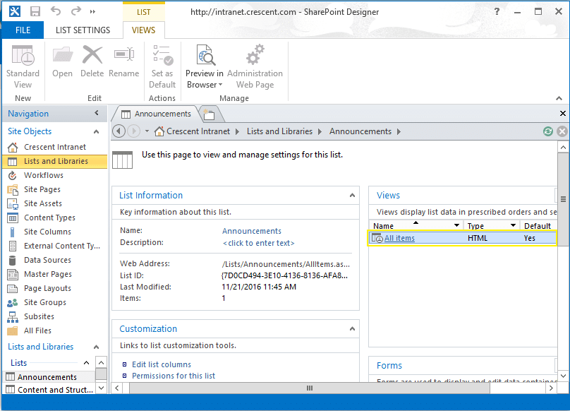display a list or library from sharepoint subsite to the top level site