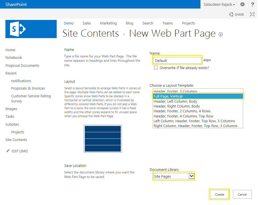 create new web part page sharepoint 2013