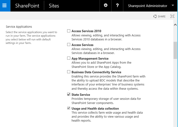 create state service application sharepoint 2016 powershell
