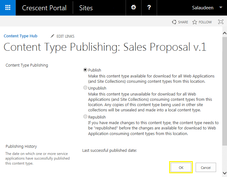 publish content type sharepoint 2013 powershell