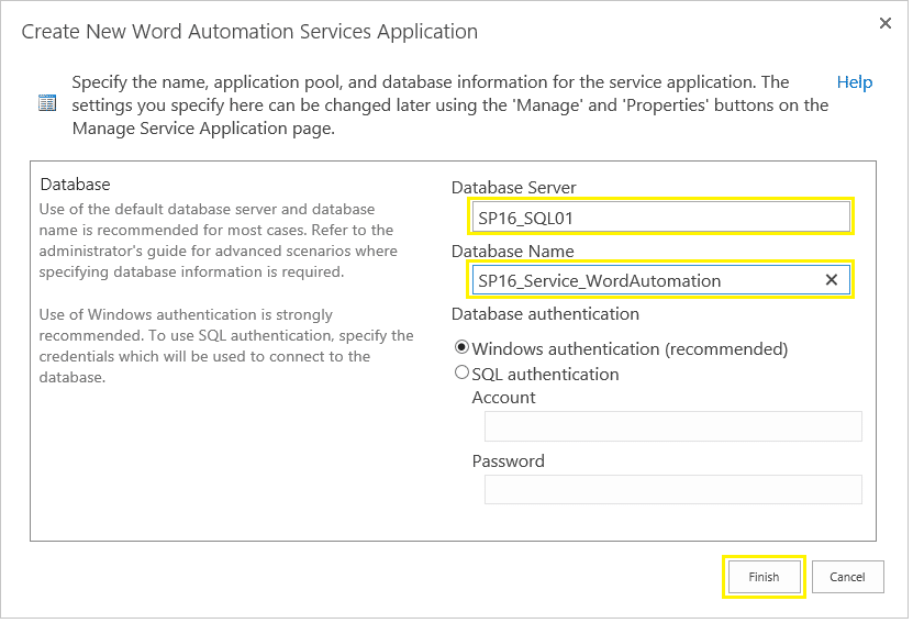 sharepoint 2016 create word automation service application powershell