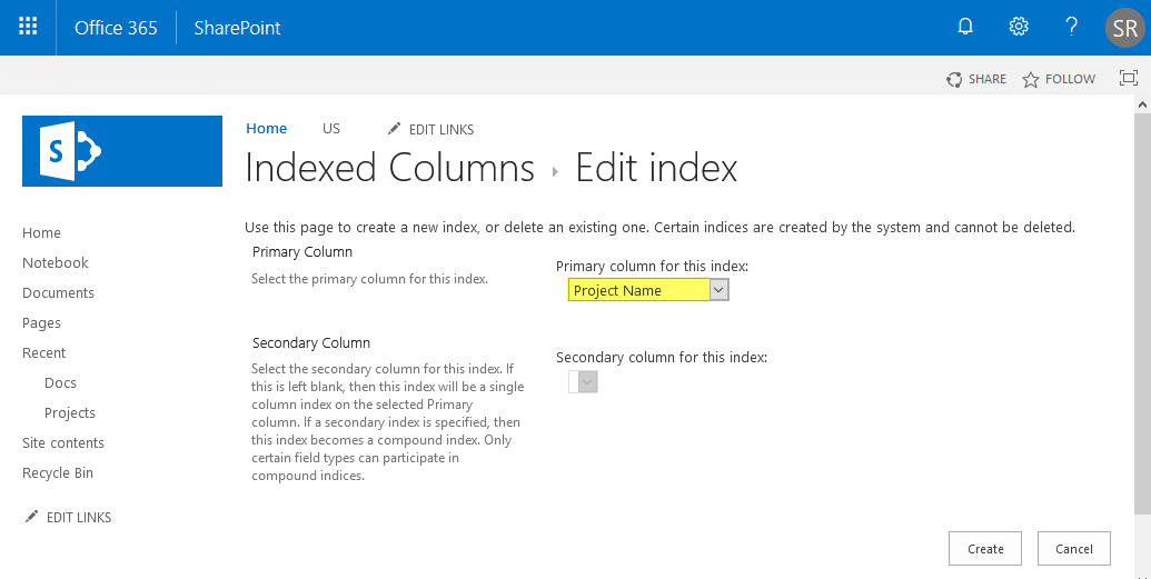 poweshell to create indexed column sharepoint online