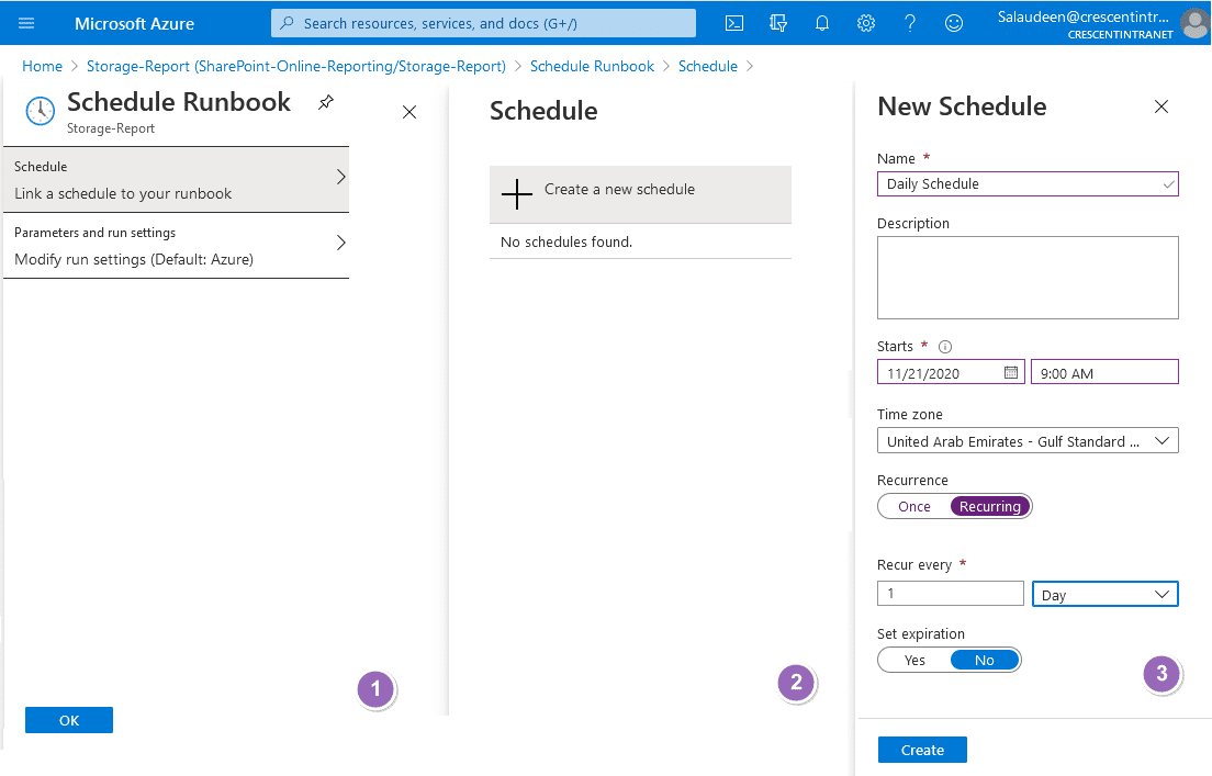 create schedule to run book for sharepoint online powershell