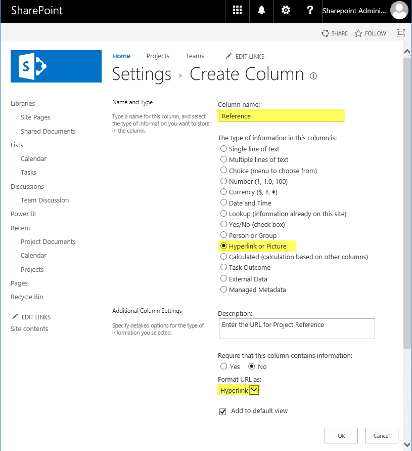 Add Hyperlink or Picture Column to SharePoint Online List using PowerShell