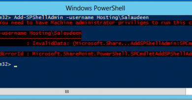 Add SPShellAdmin You need to have Machine administrator priviliges to run this cmdlet 390x205