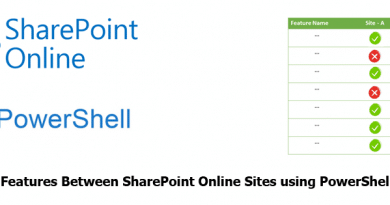 Compare Features Between SharePoint Online Sites using PowerShell 390x205