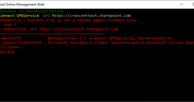 Connect SPOService Current site is not a tenant administration site 390x205
