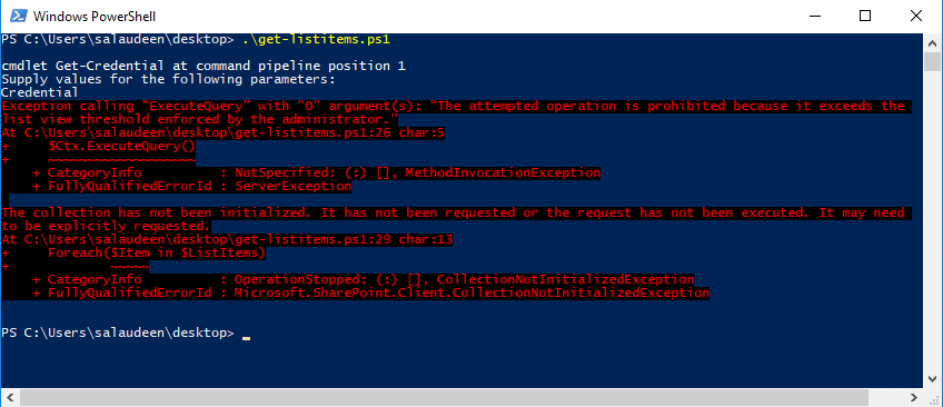 Exception calling ExecuteQuery with 0 argument(s) - The attempted operation is prohibited because it exceeds the list view threshold enforced by the Administrator.