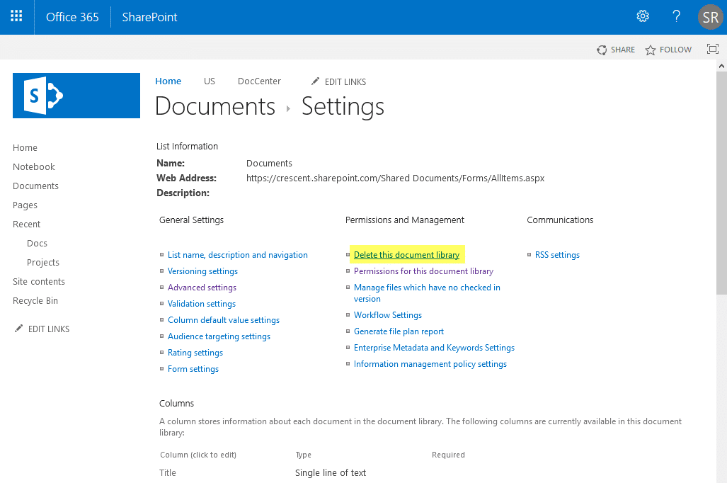 How to delete document library in SharePoint Online