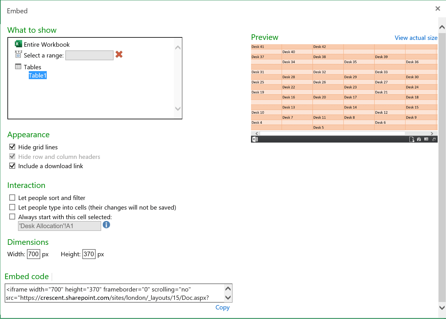 How to display excel spreadsheet in sharepoint online modern page