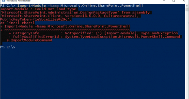 Import Module Could not load type Microsoft.SharePoint.Administration.DesignPackageType 390x205