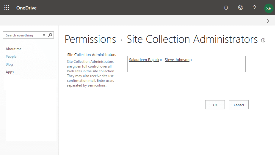 OneDrive for business remove site collection administrator