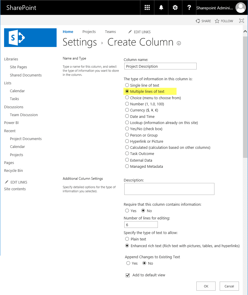 PowerShell to add multiline text field to sharepoint online list
