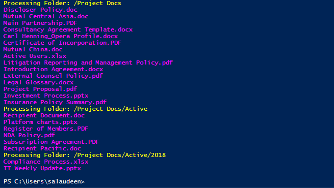 SharePoint Online loop through all files in a Document Library using powershell