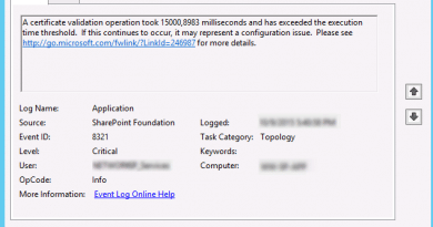 Sharepoint event id 8321 certificate validation operation took x milliseconds exceeded execution time threshold 390x205