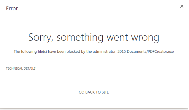 blocked file types in sharepoint 2013