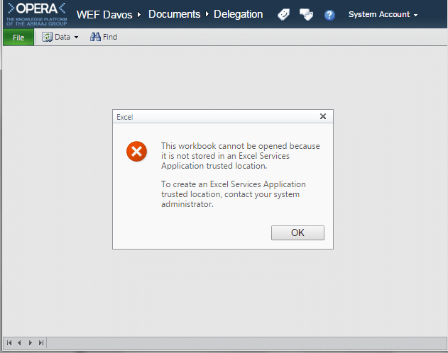 This workbook cannot be opened because it is not stored in an excel services application trusted location