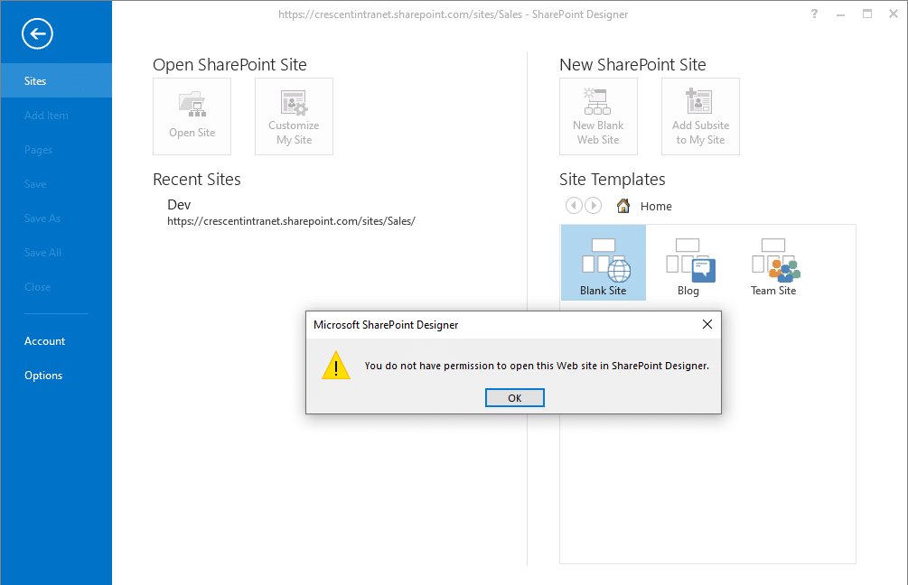 You do not have permission to open this web site in sharepoint designer