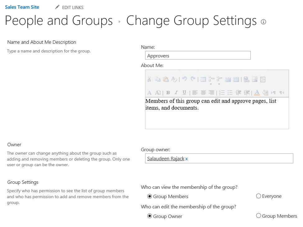 You do not have permission to view the membership of the group