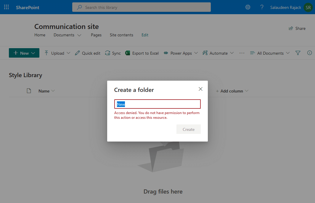access denied error on creating a folder style library