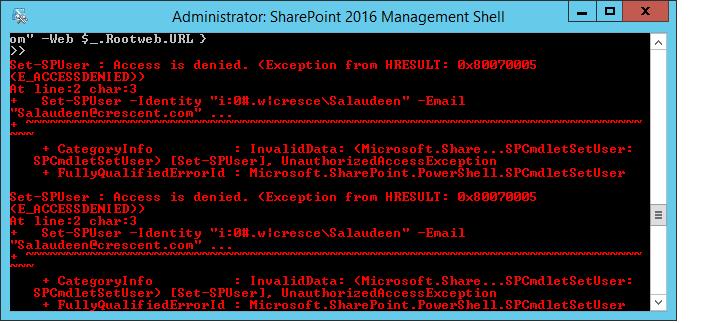 Access is denied. (Exception from HRESULT: 0x80070005 (E_ACCESSDENIED)) on Get-SPWeb, New-SPUser, Get-SPUser, Set-SPUser