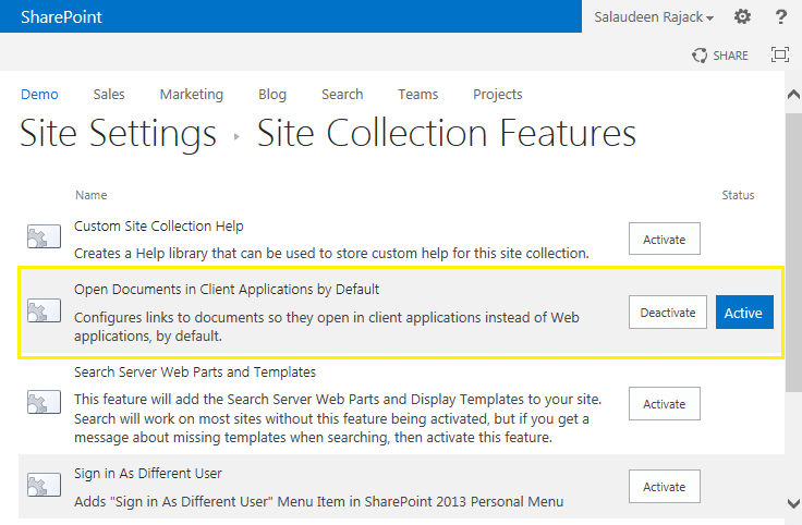 sharepoint 2013 open document in client application