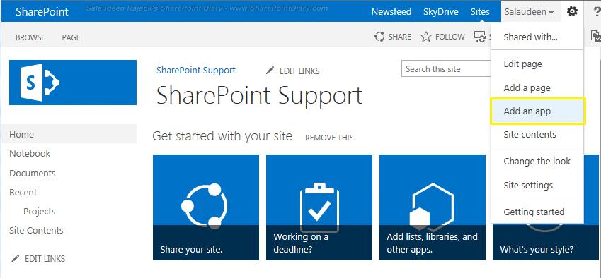 add an app in sharepoint online